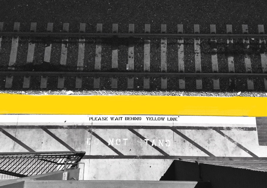 Mindshift Day 263  Throw caution to the wind and just do it. -Carrie Underwood  #mindshift #day263 #caution #tracks #colorsplash #yellow