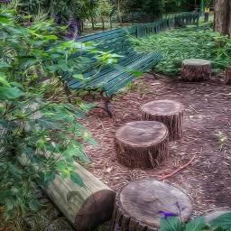 logs seats squareseats garden greennature