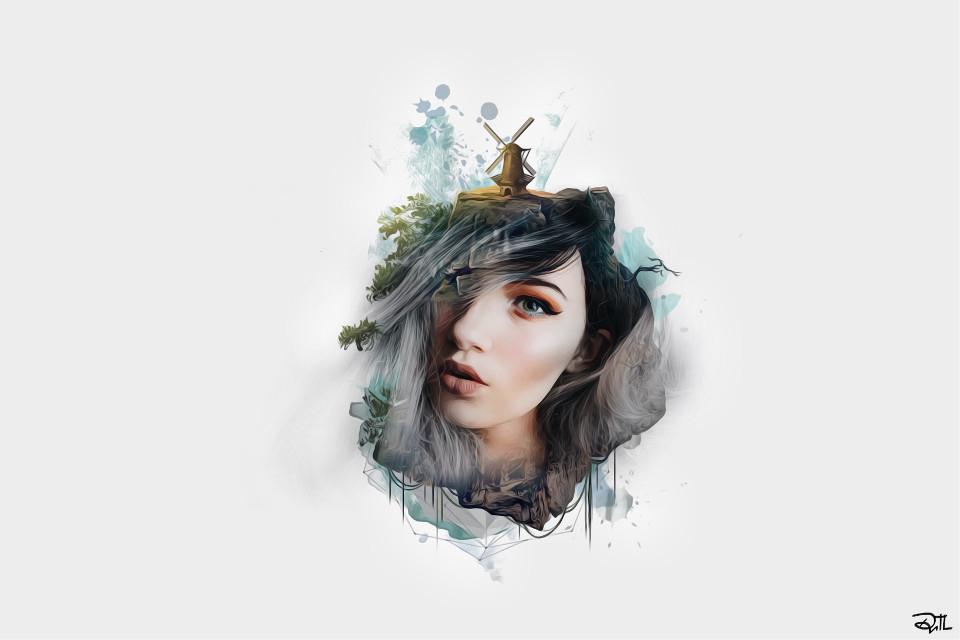 N A T U R E 🕊🕊🕊  #FreeToEdit #art #edited #clipart #remix #oilpaintingeffect #portrait #nature #people #woman #girl #emotions