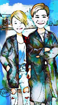 hopeandzach art painting portraitof2