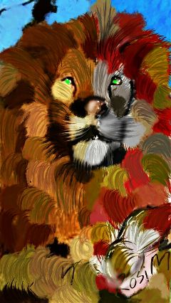 lion colorful abstract digitaldrawing popart